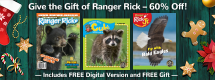 Give the Gift of Ranger Rick, 60 percent off! Includes free digital version and free gift