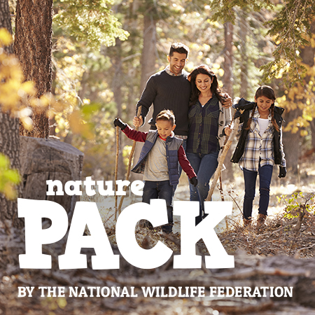 family walking outdoors with Nature Pack logo overlay