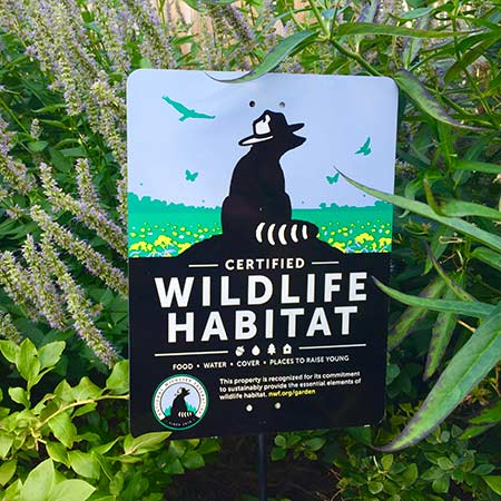 Certify a Wildlife Habitat sign posted in the ground