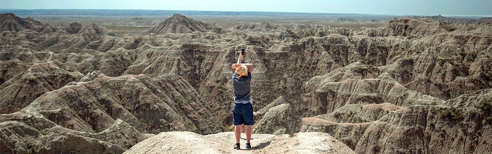 person at Badlands National Park