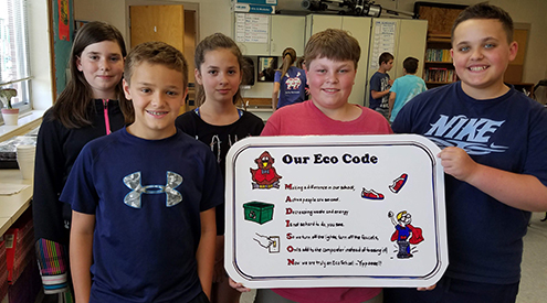 kids displaying their eco-code