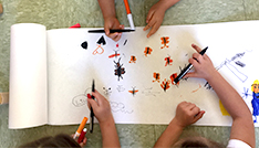 kids drawing on paper
