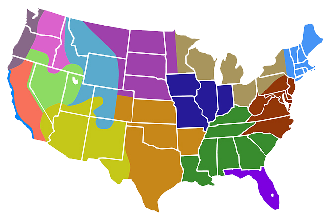 Map of United States broken out by plant-specific regions