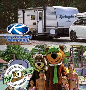 composite with image of a Keystone RV at top and a family posing with two Yogi Bear mascots at bottom