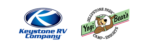 composite of logos for Keystone RV and Yogi Bear's Jellystone Park Camp-Resorts