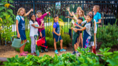 kids and adults with Certified Wildlife Habitat garden