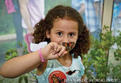 Child at McAllen City Festival learning about monarch butterflies