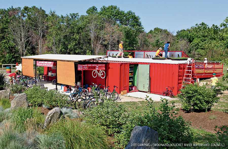 Red Shed Bike Shop green roof, Olneyville, Rhode Island