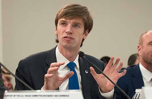 NWF President and CEO Collin O'Mara promotes the use of sustainable biofuels, congressional hearing, June 2018.