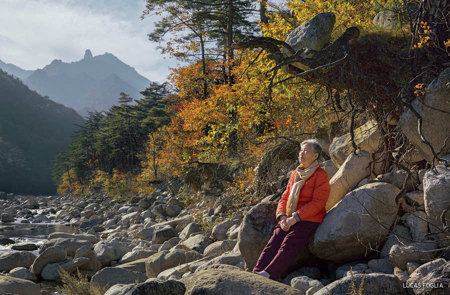 A woman in Seoraksan National Park in South Korea, where hiking and forest bathing is a national pastime