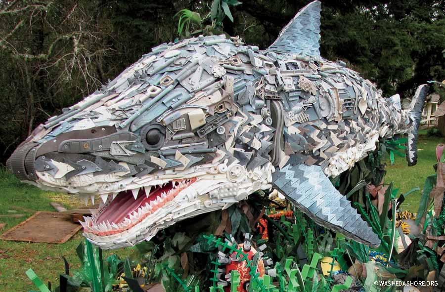 Plastic sculpture of Chompers the shark