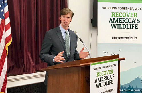 Collin O'Mara address the press pool on Capitol Hill before the introduction of Recovering America's Wildlife Act