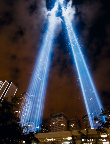Birds flying through the twin beams at the Tribute in Light, Battery Park City, New York City