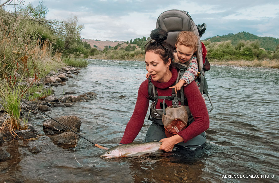 April Vokey and daughter Adelaide fishing for rainbow trout