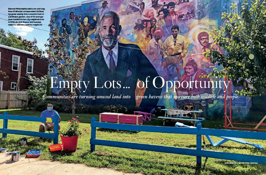 "A spread of the opener of ""Empty Lots ... of Opportunity"" featuring a mural of Ed Bradley."