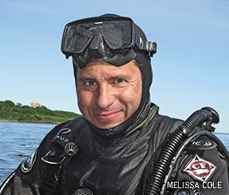 A photo of photographer Brandon Cole in his diving gear.