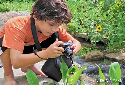 A young boy taking pictures with his camera